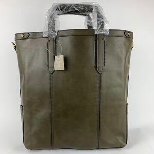 J.CREW Oar Stripe LEATHER Laptop Tablet Tote Bag
